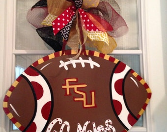 FSU GO Noles Florida State University Football Door Hanger
