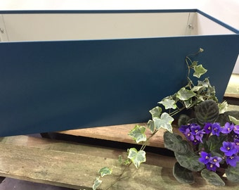 Rectangle Handmade Metal Planter, Blue Plastisol Leather Grain Coated Metal Finish