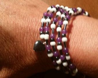 Purple & black beaded wrap  bracelet