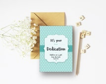 Dedication A6 Card - Available individually or in larger bundles.