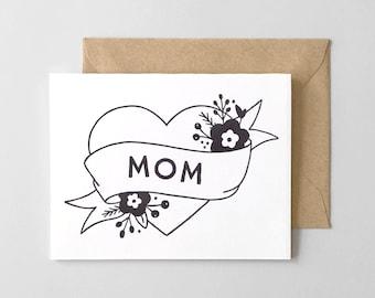 Mom Tattoo Letterpress Thank You Card