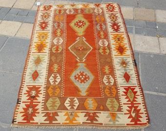 Turkish Kilim Rug 100% Wool Handmade Vintage Home Decor