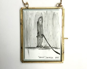 "Original framed watercolor painting - ""GROUILLE!"" January 2014."