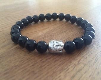 Hand Crafted 8mm Black Buddha bracelet