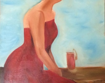 oil painting girl in red dress