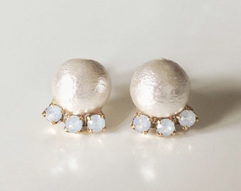 14K Gold filled earrings, Cotton Pearl and Swarovski Crystal Earrings, Bridal Jewelry, Bridesmaids Gifts,