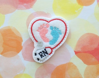 Felties, Felt Applique, Embroidered Applique, Stethoscope Felties, RN Nurse Felties, Medical Felties, Baby Nurse, Craft Supplies