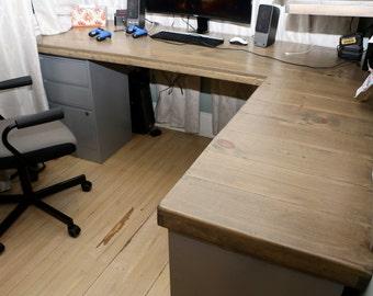 Custom desk top and shelving