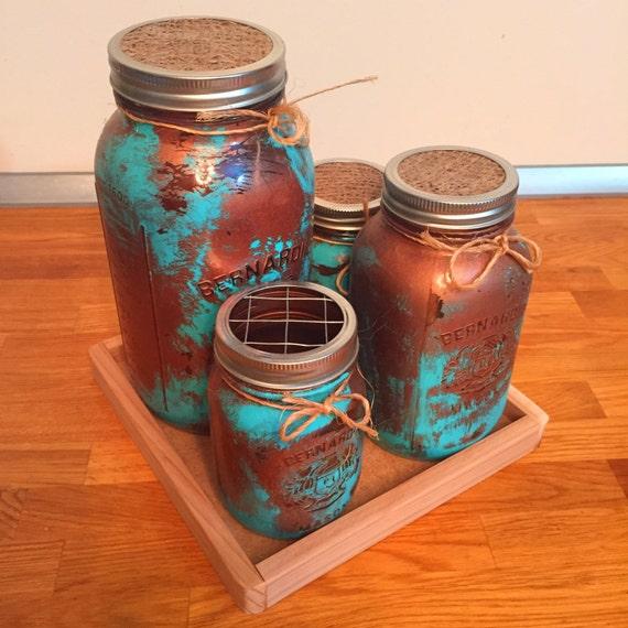 Mason Jar Kitchen Decor Set: Copper Patina Mason Jar Kitchen Canister