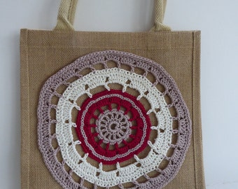 33. Natural Hessian Bag with a Red, Beige and Taupe Hand Crocheted Motif