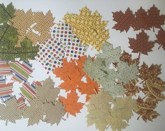 Leaves Paper Cutouts Large Leaf Table Decor Assorted Colors and Patterns Fall Confetti Hand Punched Paper Crafting Autumn Decorations 55