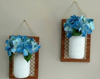 Set of Two Mason Jar Wall Decor With Flowers