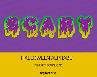 Scary Alphabet SVG, Halloween Letters, Scary Font, Zombie Letters SVG, Svg, Eps, Dxf, Studio3 use with Cricut & Silhouette