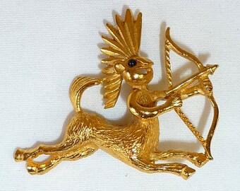 Vintage Sagittarius Zodiac Brooch with Gold Finish - Sagittarius the Archer - Nov 22 to Dec 21