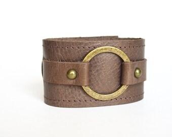 Leather Cuff Bracelet-Soft Bronze Leather Wristband-Leather Cuff With Ring-Large Ring Leather Cuff
