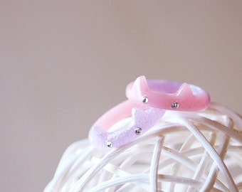 Cute Pastel Cat Rings