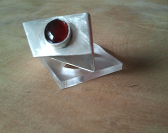 Ring Sterling Silver with Carnelian Gemstone,Right Index Finger