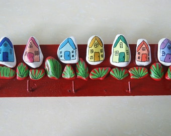 red houses key holder,pallet wood,  rock art, arcylic paint, hand painted, home decoration