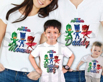INSTANT DL- Pj Masks  Iron on Transfer, Family set Boy / Girl - pj masks T Shirt digital file Birthday - you print- (non personalized)