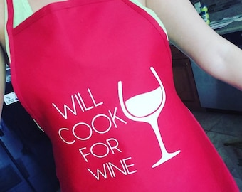 """Personalized Apron """"Will Cook For Wine"""""""