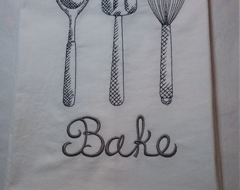 Embroidered Bakers flour sack towel