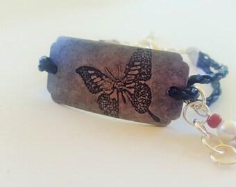 Butterfly Leather Bracelet, Leather Bracelet, handmade leather bracelets