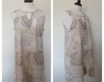 vintage. 1980s abstract print shirt dress