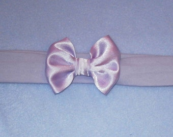 Baby's Lilac Pale Purple Cotton Lycra Hair Band with Satin Bow 0-36 months Headband