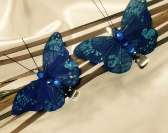 Set of two royal blue butterfly hair clips