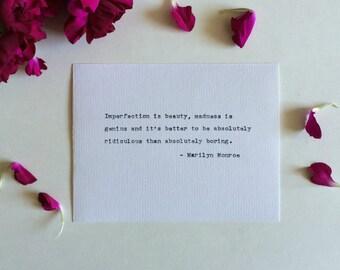 Type Writer Print: Marilyn Monroe Quote