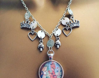 Alice in wonderland queen of hearts charm necklace wonderland themed disney