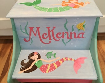 Hand painted mermaid custom double step stool