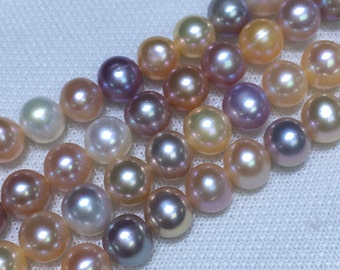 8-9 AA Potato shape Freshwater pearls ,Mixed color pearl strand,Large hole pearls with high luster