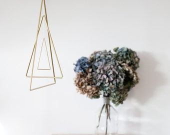 "DIY kit: Brass mobile ""Triangles"" - brass hanger do it yourself"