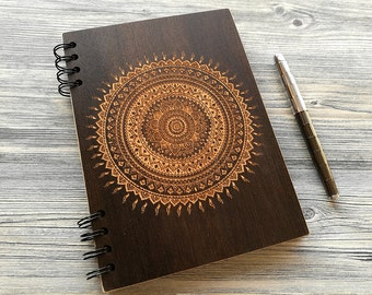 Mandala Journal, Wood Notebook, Custom Journal, Wooden Notebook, Engraved Notebook, Sketchbook, Eco Friendly, Laser Engraved, Gifts for Her