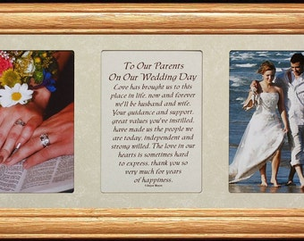 7x15 To Our PARENTS On Our WEDDING DAY Poetry & Photo Frame ~ Wedding/Christmas Gift for the Parents of the Bride and Groom ~