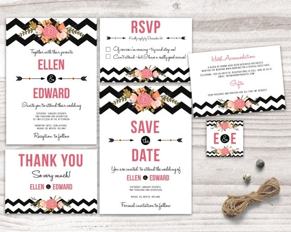 Chevron Wedding Invitation