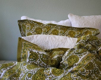 Bohemian Paisley Wood-Block printed Duvet. Made in Jaipur from extra soft percale cotton