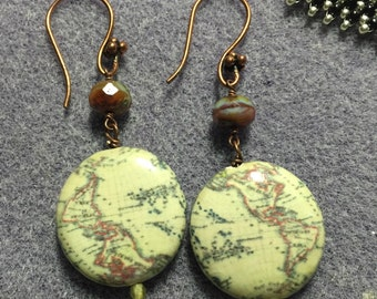 Decoupage Map Earrings