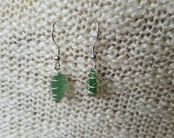 Beach Glass Earrings - Sterling Silver