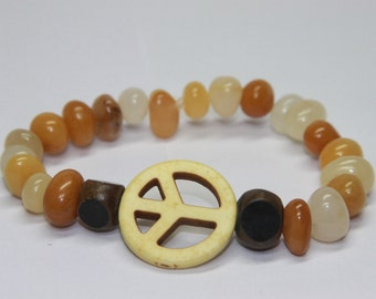 Yellow Agate and wood with Howlite Peace Stretchy.
