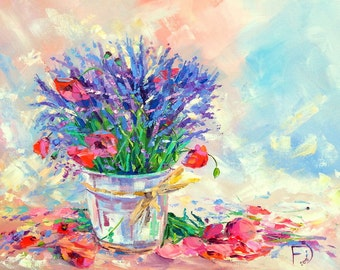 Red poppies, Lavender painting, Flowers bouquet painting, Oil painting, Original painting, Bright painting, Gift for her, Palette knife, Art