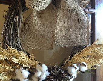 Wheat and Cotton Wreath, Fall Wreath, Rustic Wreath, Farmhouse Decor