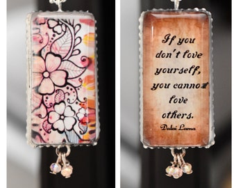 Charm/Yoga /Two Sides Unique/Dalai Lama/Inspirational/lotus flower/Om/Quote/Inspiring/Soldered/Necklace/Ball Chain/Gift/Perfect Gift