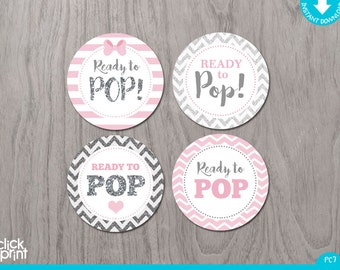 Pink and Silver Print Yourself Girl Baby Shower Cupcake Toppers or Stickers Ready to Pop, Pink and Silver Girl Baby Shower Decoration