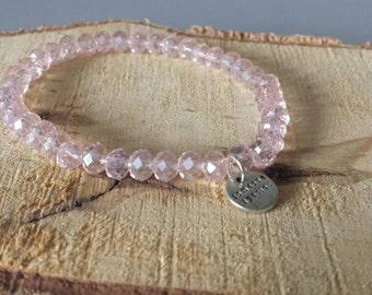 Light pink faceted bracelet