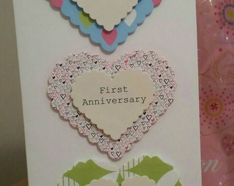 Personalised Handcrafted Anniversary Card - Hearts