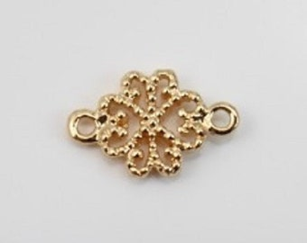 """Lot 5 clovers carved with 2 rings """"gold plated"""" 8 mm x 12 mm"""