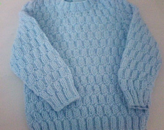 Hand knitted Baby boys jumper 0-3 months baby Boy gift