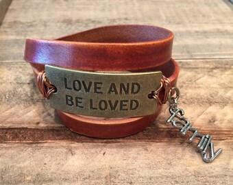 Love and be loved brass plate triple wrap bracelet